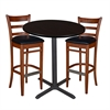 "36"" Round Café Table- Mocha Walnut & 2 Zoe Café Stools- Cherry/Black"