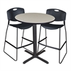 "Cain 36"" Round Café Table- Maple & 2 Zeng Stack Stools- Black"