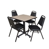 "Kobe 30"" Square Breakroom Table- Beige & 4 Restaurant Stack Chairs- Black"