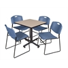 "Kobe 30"" Square Breakroom Table- Beige & 4 Zeng Stack Chairs- Blue"
