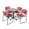 "Kobe 30"" Square Breakroom Table- Beige & 4 Zeng Stack Chairs- Burgundy"
