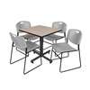 "Kobe 30"" Square Breakroom Table- Beige & 4 Zeng Stack Chairs- Grey"
