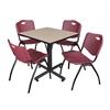 "Kobe 30"" Square Breakroom Table- Beige & 4 'M' Stack Chairs- Burgundy"
