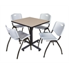 "Kobe 30"" Square Breakroom Table- Beige & 4 'M' Stack Chairs- Grey"