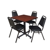 "Kobe 30"" Square Breakroom Table- Cherry & 4 Restaurant Stack Chairs- Black"