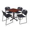 "Kobe 30"" Square Breakroom Table- Cherry & 4 Zeng Stack Chairs- Black"