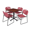 "Kobe 30"" Square Breakroom Table- Cherry & 4 Zeng Stack Chairs- Burgundy"