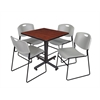 "Kobe 30"" Square Breakroom Table- Cherry & 4 Zeng Stack Chairs- Grey"