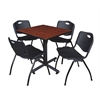 "Kobe 30"" Square Breakroom Table- Cherry & 4 'M' Stack Chairs- Black"