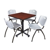 """Kobe 30"""" Square Breakroom Table- Cherry & 4 'M' Stack Chairs- Grey"""