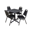 "Kobe 30"" Square Breakroom Table- Grey & 4 Restaurant Stack Chairs- Black"