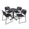 "Kobe 30"" Square Breakroom Table- Grey & 4 Zeng Stack Chairs- Black"