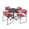 "Kobe 30"" Square Breakroom Table- Grey & 4 Zeng Stack Chairs- Burgundy"