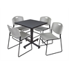 """Kobe 30"""" Square Breakroom Table- Grey & 4 Zeng Stack Chairs- Grey"""