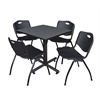 "Kobe 30"" Square Breakroom Table- Grey & 4 'M' Stack Chairs- Black"