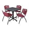 "Kobe 30"" Square Breakroom Table- Grey & 4 'M' Stack Chairs- Burgundy"