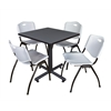 """Kobe 30"""" Square Breakroom Table- Grey & 4 'M' Stack Chairs- Grey"""