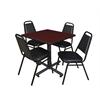 "Kobe 30"" Square Breakroom Table- Mahogany & 4 Restaurant Stack Chairs- Black"