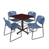 "Kobe 30"" Square Breakroom Table- Mahogany & 4 Zeng Stack Chairs- Blue"