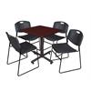 "Kobe 30"" Square Breakroom Table- Mahogany & 4 Zeng Stack Chairs- Black"