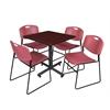 "Kobe 30"" Square Breakroom Table- Mahogany & 4 Zeng Stack Chairs- Burgundy"