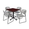 "Kobe 30"" Square Breakroom Table- Mahogany & 4 Zeng Stack Chairs- Grey"