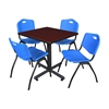 """Kobe 30"""" Square Breakroom Table- Mahogany & 4 'M' Stack Chairs- Blue"""