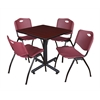 "Kobe 30"" Square Breakroom Table- Mahogany & 4 'M' Stack Chairs- Burgundy"
