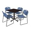 """Kobe 30"""" Square Breakroom Table- Mocha Walnut  & 4 Zeng Stack Chairs- Blue"""