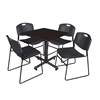 "Kobe 30"" Square Breakroom Table- Mocha Walnut  & 4 Zeng Stack Chairs- Black"