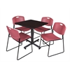 "Kobe 30"" Square Breakroom Table- Mocha Walnut  & 4 Zeng Stack Chairs- Burgundy"