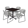 "Kobe 30"" Square Breakroom Table- Mocha Walnut  & 4 Zeng Stack Chairs- Grey"