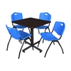 "Kobe 30"" Square Breakroom Table- Mocha Walnut  & 4 'M' Stack Chairs- Blue"