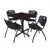 "Kobe 30"" Square Breakroom Table- Mocha Walnut  & 4 'M' Stack Chairs- Black"