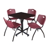 "Kobe 30"" Square Breakroom Table- Mocha Walnut  & 4 'M' Stack Chairs- Burgundy"