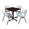 "Kobe 30"" Square Breakroom Table- Mocha Walnut  & 4 'M' Stack Chairs- Grey"