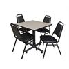 "Kobe 30"" Square Breakroom Table- Maple & 4 Restaurant Stack Chairs- Black"