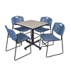 "Kobe 30"" Square Breakroom Table- Maple & 4 Zeng Stack Chairs- Blue"