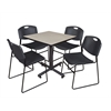 "Kobe 30"" Square Breakroom Table- Maple & 4 Zeng Stack Chairs- Black"
