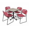 "Kobe 30"" Square Breakroom Table- Maple & 4 Zeng Stack Chairs- Burgundy"