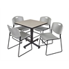 """Kobe 30"""" Square Breakroom Table- Maple & 4 Zeng Stack Chairs- Grey"""