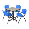 """Kobe 30"""" Square Breakroom Table- Maple & 4 'M' Stack Chairs- Blue"""