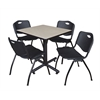 "Kobe 30"" Square Breakroom Table- Maple & 4 'M' Stack Chairs- Black"