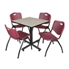 "Kobe 30"" Square Breakroom Table- Maple & 4 'M' Stack Chairs- Burgundy"