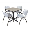 """Kobe 30"""" Square Breakroom Table- Maple & 4 'M' Stack Chairs- Grey"""