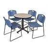 "Kobe 30"" Round Breakroom Table- Beige & 4 Zeng Stack Chairs- Blue"