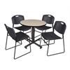 "Kobe 30"" Round Breakroom Table- Beige & 4 Zeng Stack Chairs- Black"