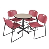 "Kobe 30"" Round Breakroom Table- Beige & 4 Zeng Stack Chairs- Burgundy"