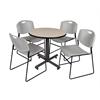 "Kobe 30"" Round Breakroom Table- Beige & 4 Zeng Stack Chairs- Grey"