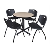 "Kobe 30"" Round Breakroom Table- Beige & 4 'M' Stack Chairs- Black"